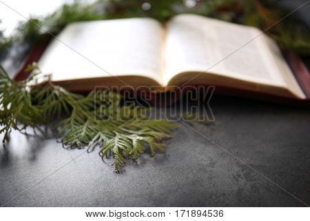 Blurred open Bible and coniferous branches on grey table