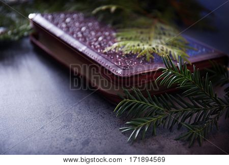 Bible in ornate leather cover and coniferous branches on grey table, closeup
