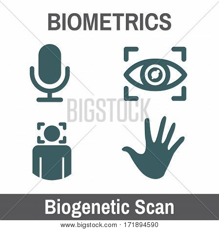 Biometric Scanning Graphic - Biogenetics With Hand, Audio, Head Scan, Eye..