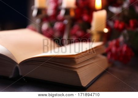 Closeup view of open Bible on table