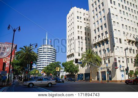 LOS ANGELES CALIFORNIA - OCTOBER 29 2014: Capitol Records building in Los Angeles