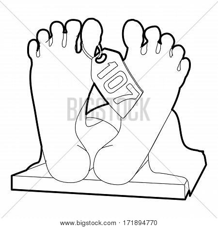 Dead body icon. Outline illustration of dead body vector icon for web