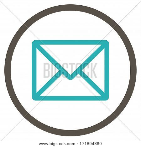Letter rounded icon. Vector illustration style is flat iconic bicolor symbol inside circle grey and cyan colors white background.