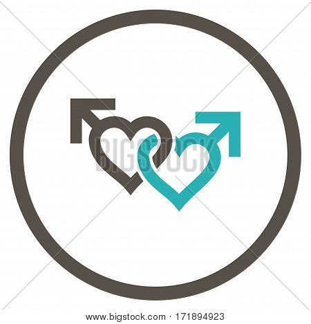 Linked Gay Hearts rounded icon. Vector illustration style is flat iconic bicolor symbol inside circle grey and cyan colors white background.