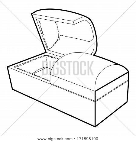 Opened coffin icon. Outline illustration of opened coffin vector icon for web