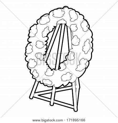 Memorial wreath icon. Outline illustration of memorial wreath vector icon for web