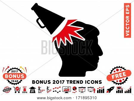 Intensive Red And Black Megaphone Impact Head pictograph with bonus 2017 trend icon set. Vector illustration style is flat iconic bicolor symbols white background.