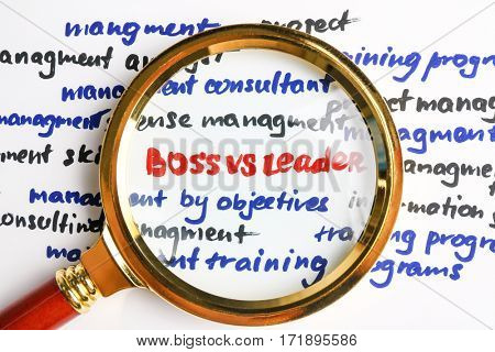 Magnifier increasing text BOSS VS LEADER, closeup