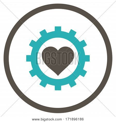Love Heart Options Gear rounded icon. Vector illustration style is flat iconic bicolor symbol inside circle grey and cyan colors white background.