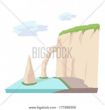 Sea cliff icon. Cartoon illustration of sea cliff vector icon for web