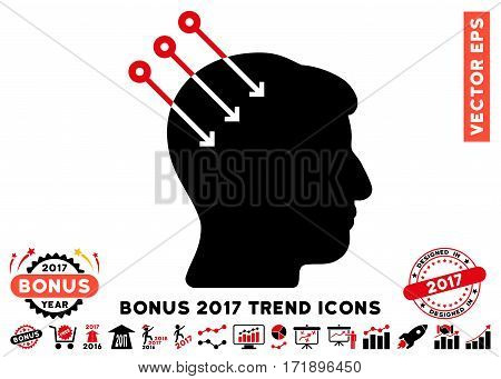 Intensive Red And Black Neural Interface Connectors pictograph with bonus 2017 trend pictograms. Vector illustration style is flat iconic bicolor symbols white background.