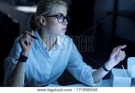 Finding access to the system. Involved concentrated skilled hacker sitting in the office and decoding information while demonstrating her skills