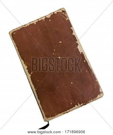 Worn vintage leather book weathered from reading and use isolated on white