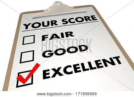 Your Score Grade Review Evaluation Checklist 3d Illustration