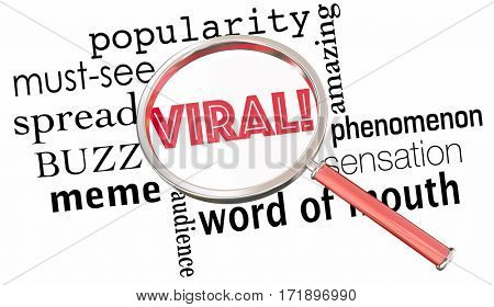 Viral Popularity Spreading Buzz Words Magnifying Glass 3d Illustration
