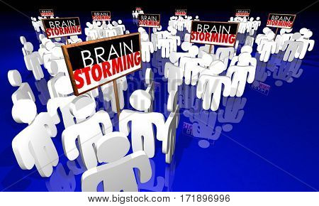 Brainstorming Meeting People Signs Ideas Creativity 3d Illustration