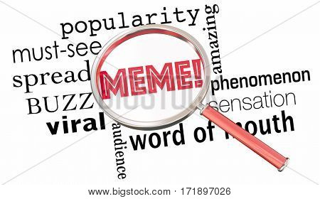 Meme Internet Trend Buzz Fad Magnifying Glass 3d Illustration