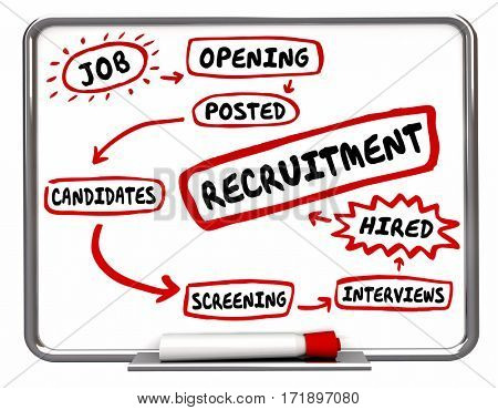 Recruitment Find Hire New Employees Diagram 3d Illustration