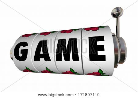 Game Slot Machine Reels Word Letters Casino 3d Illustration
