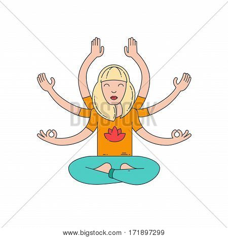 Asia goddess sign. Young woman with six hands. Meditation. Flat line vector illustration