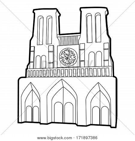 French castle icon. Outline illustration of french castle vector icon for web
