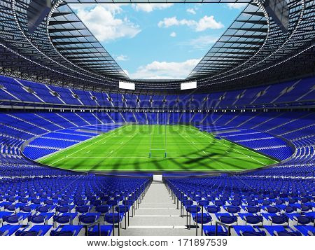 3D Render Of A Round Rugby Stadium With  Blue Seats And Vip Boxes