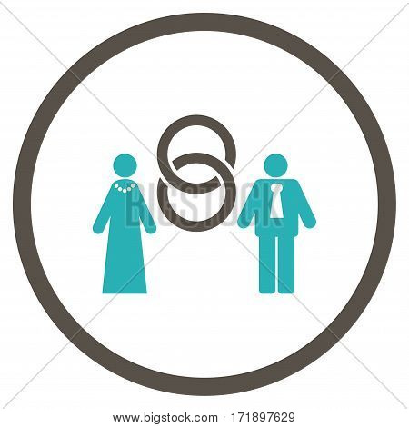 Marriage Persons rounded icon. Vector illustration style is flat iconic bicolor symbol inside circle grey and cyan colors white background.