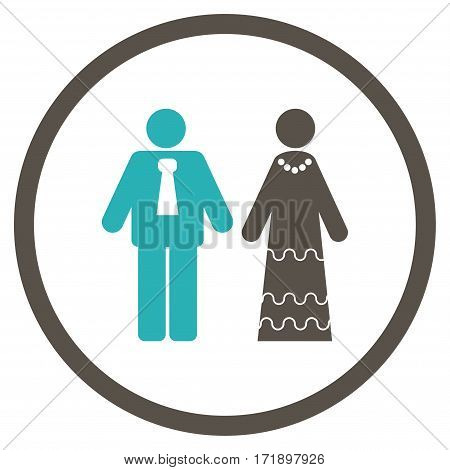 Newlyweds rounded icon. Vector illustration style is flat iconic bicolor symbol inside circle grey and cyan colors white background.