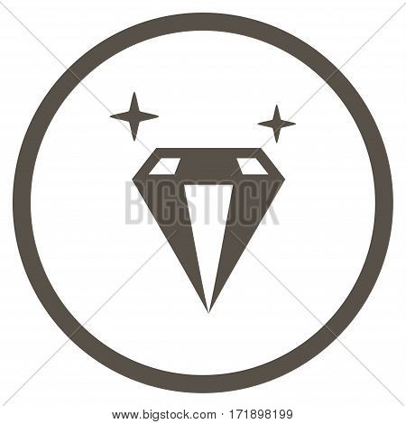 Sparkle Diamond Crystal rounded icon. Vector illustration style is flat iconic bicolor symbol inside circle grey and cyan colors white background.
