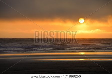 sundown at Kalaloch beach Olympic National Park Washington State