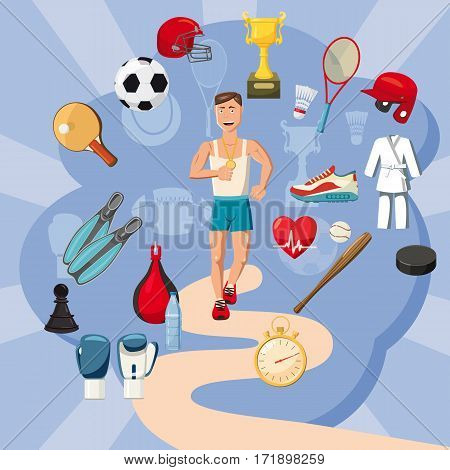Sportsman items concept set. Cartoon illustration of sportsman items vector concept for web