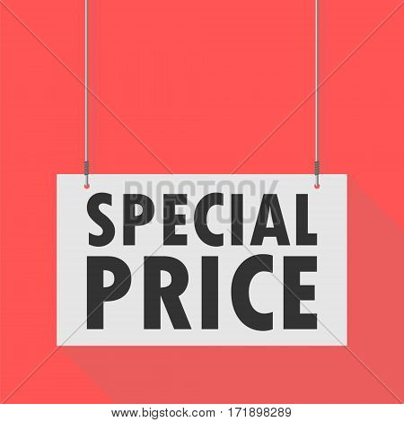 Hanging Sign special price on red background