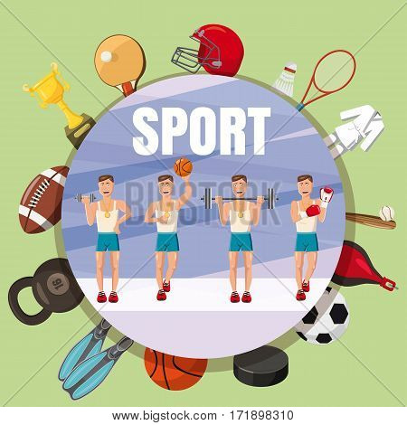 Sport section symbols concept set. Cartoon illustration of sport section symbols vector concept for web