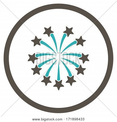 Spherical Fireworks rounded icon. Vector illustration style is flat iconic bicolor symbol inside circle grey and cyan colors white background.