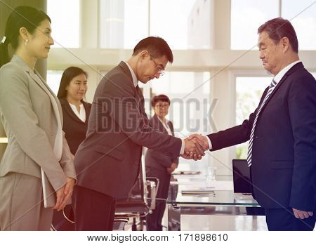 Photo Gradient Style with Business Partners Introductionary Handshake Bow