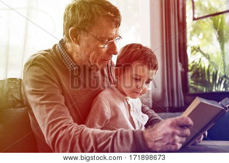 Grandfather Grandson Family Reading Leisure