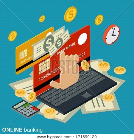 Online banking, money transfer, financial transaction flat isometric vector concept