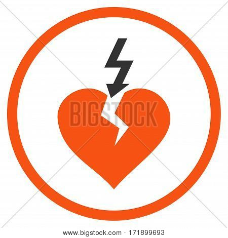 Break Heart rounded icon. Vector illustration style is flat iconic bicolor symbol inside circle orange and gray colors white background.