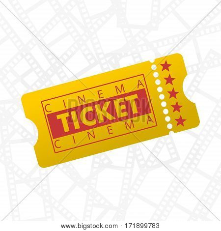 Simple Cinema Ticket illustration with film frame background