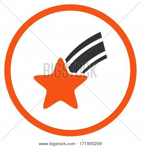 Falling Star rounded icon. Vector illustration style is flat iconic bicolor symbol inside circle orange and gray colors white background.
