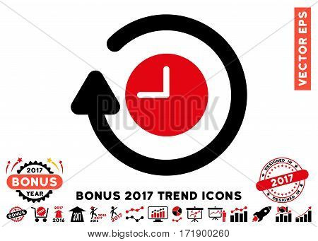 Intensive Red And Black Repeat Clock pictograph with bonus 2017 trend images. Vector illustration style is flat iconic bicolor symbols white background.