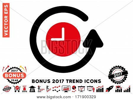 Intensive Red And Black Restore Clock pictograph with bonus 2017 trend symbols. Vector illustration style is flat iconic bicolor symbols white background.