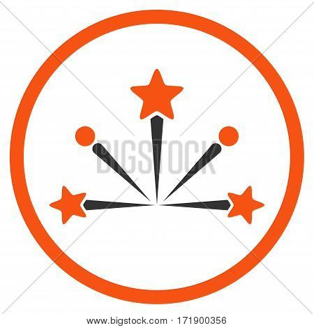 Fireworks Bang rounded icon. Vector illustration style is flat iconic bicolor symbol inside circle orange and gray colors white background.