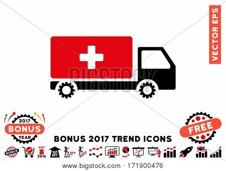 Intensive Red And Black Service Car icon with bonus 2017 year trend clip art. Vector illustration style is flat iconic bicolor symbols white background.