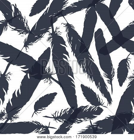 Watercolor monochrome feather seamless pattern texture background vector