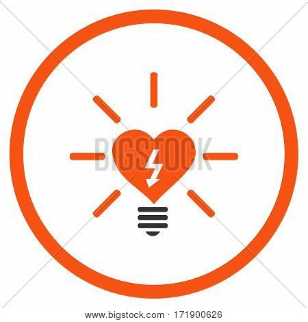 Heart Electric Bulb rounded icon. Vector illustration style is flat iconic bicolor symbol inside circle orange and gray colors white background.