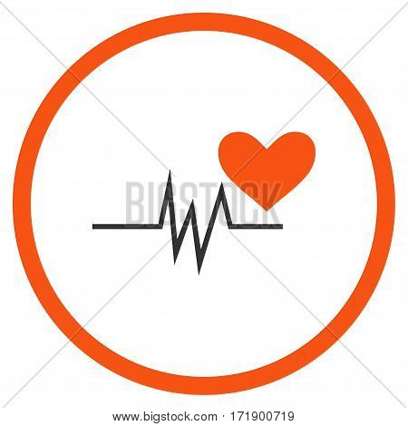Heart Pulse Signal rounded icon. Vector illustration style is flat iconic bicolor symbol inside circle orange and gray colors white background.