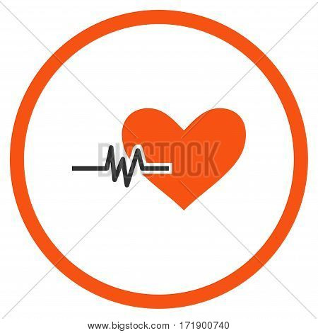 Heart Pulse rounded icon. Vector illustration style is flat iconic bicolor symbol inside circle orange and gray colors white background.