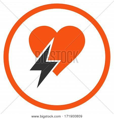 Heart Shock rounded icon. Vector illustration style is flat iconic bicolor symbol inside circle orange and gray colors white background.