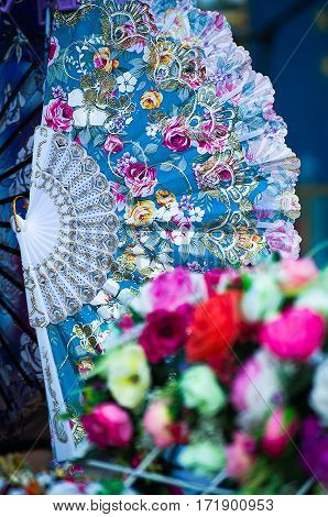 fan decoration for girls in summer in the open air at the festival exhibition